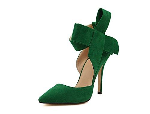Pumps Shoes Green Party Dress Xianshu Tie Court Heel High Womens Bow CxX1qwBpg