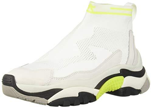 Ash Women's AS-Addict Stretch Sneaker White/Fluo Yellow 38 M EU (8 - Footwear Yellow Fluo