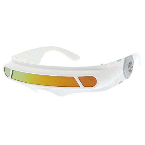 sunglassLA - Futuristic Cyclops Shield Colored Mirror Mono Lens Wrap Sunglasses 147mm (White / Orange - Glasses Futuristic