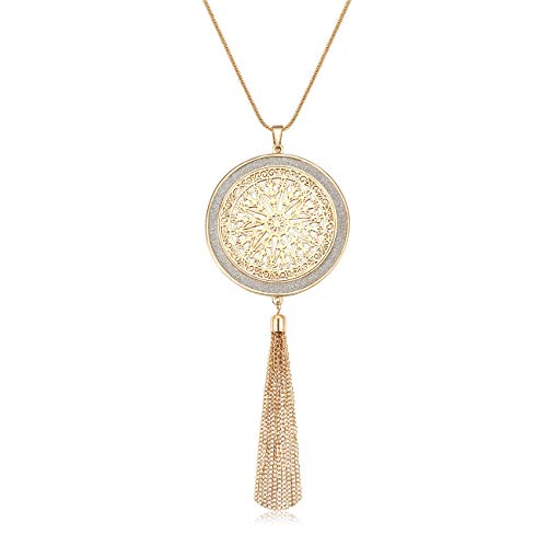 HEIDKRUEGER Long Necklaces for Women Acrylic Resin Disc Circle Pendant Necklace Bohemia Tassel Fringe Necklace Statement Y-Necklaces