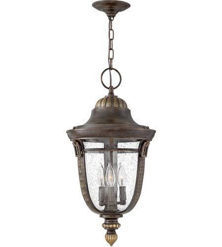 Outdoor Pendant 3 Light Fixtures with Regency Bronze Finish Cast Aluminum Material Candelabra 12