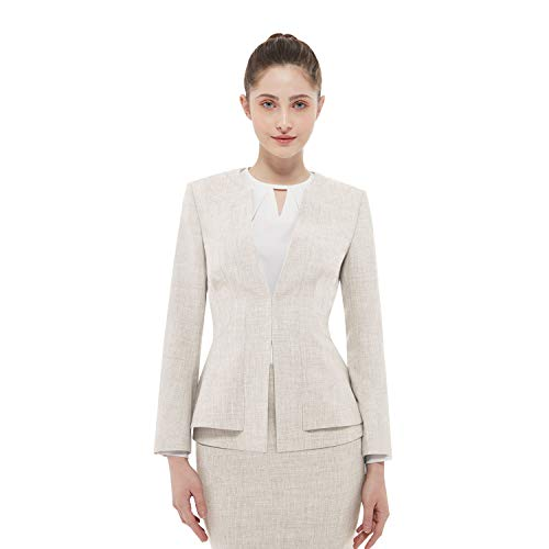 Women Business Suit Set for Office Lady Two Pieces Slim Work Blazer & Skirt (Wheat, 0) ()
