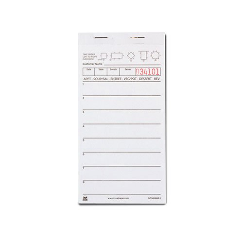 Royal White Server Pad Paper, 1 Part Booked with 8 Lines, Package of 10