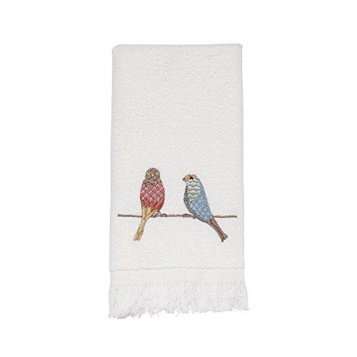 Avanti Linens Bird on A Wire Fingertip Towel, White ()