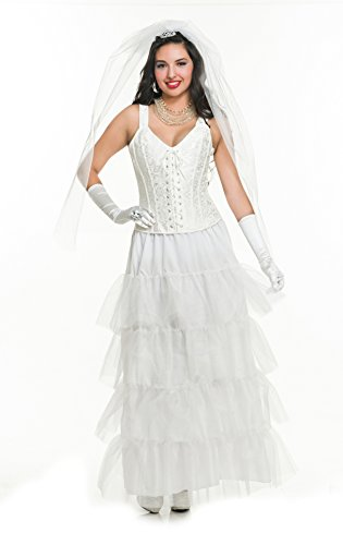 Charades Women's Deluxe Newlywed Bride Costume, White, X-Large ()
