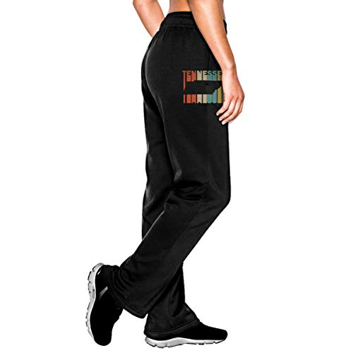 (Womens Retro Style Tennessee Silhouette Jogger Sweatpants, Drawstring Workout Pants with Pockets Black)