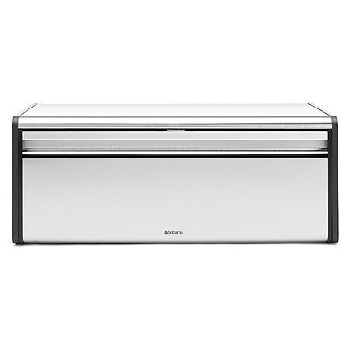 - Brabantia Fall Front Fingerprint-Proof Bread Box in Matte Steel