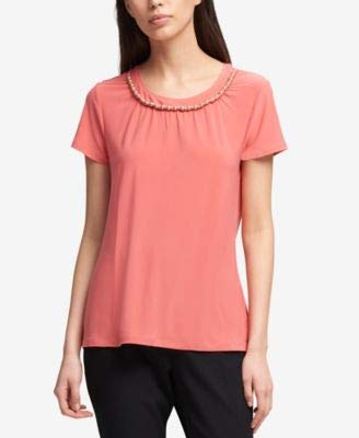 d86bac98 DKNY $59 Womens New 1387 Coral Beaded Scoop Neck Short Sleeve T ...