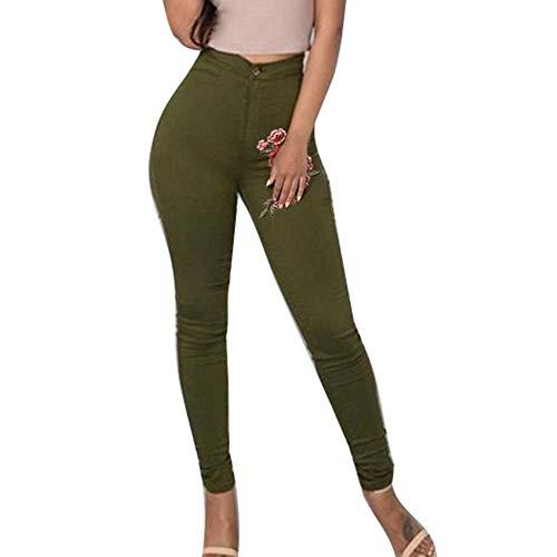 3xl Rectos La Mezclilla Vaqueros Grün Legging S Stretch Señoras Bordados Pantalones Cintura Estiramiento Las Huixin Del Lápiz Alta De BT05q