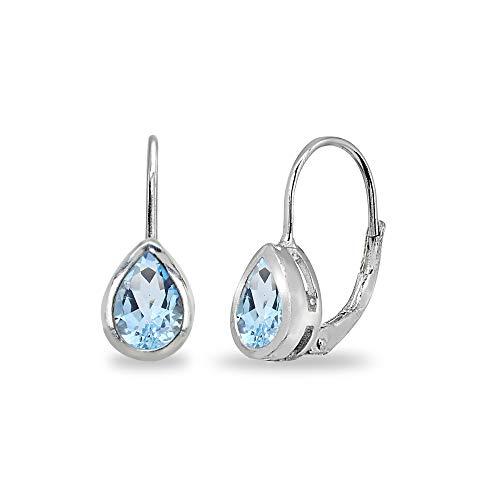 Sterling Silver Blue Topaz 7x5mm Teardrop Bezel-Set Dainty Leverback Earrings for Women Teen ()