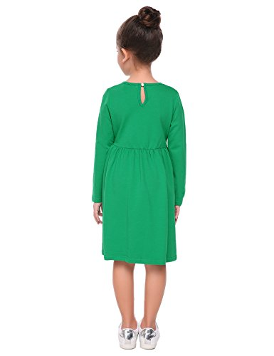 Arshiner-Little-Girls-Long-Sleeve-Dress-Solid-Color-Casual-Skater-Pocket-Dress