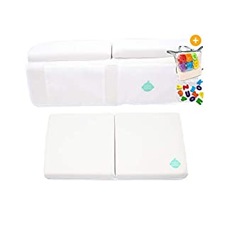 EZ 2-in-1 Baby Bath Kneeler and Elbow Rest Pad with Bath Toys - Non-Toxic, Foldable, Washable, Safe, Fun and Comfortable Bath Time- (White)