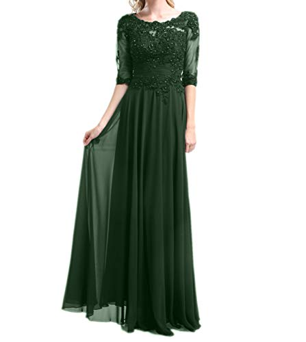 La Chiffon mit mia Lang Ballkleider Abendkleider Braut Langarm Brautmutterkleider Gruen Festlichkleider Partykleider Elegant Dunkel vnBrUvx
