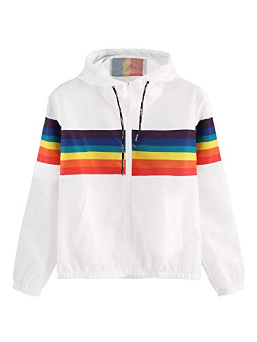 SweatyRocks Women's Casual Jackets Rainbow Stripe Lightweight Hooded Outdoor Hiking White ()