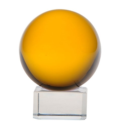 - Glass Ball for Photography Decoration,H&D Magic Crystal Meditation Ball Globe ,Glass Crystal with Free Stand (amber)