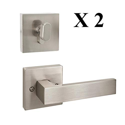 2 Pack-Passage Door Lever with Single Cylinder Deadbolts Combo Pack,for Hall/Closet Keyless Passage Function, Keyed Alike Square Dead Bolts, Front Entry Door Hardware