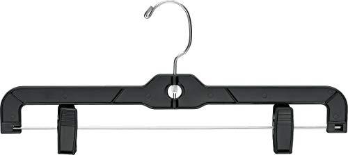 The Great American Hanger Company Matte Black Plastic Bottom Hanger, Box of 100 Space Saving Hangers w/ 360 Degree Nickel Swivel Hook for Skirt and Pants