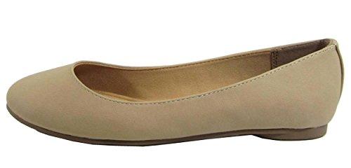 Soda Comfortable Basic Shoes Women Ballet Flat Round Toe Gel Insole KREME,10 B(M) US,Natural Nbpu