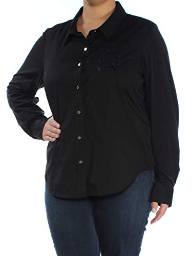 s Embroidered Button Down Blouse Black XL ()