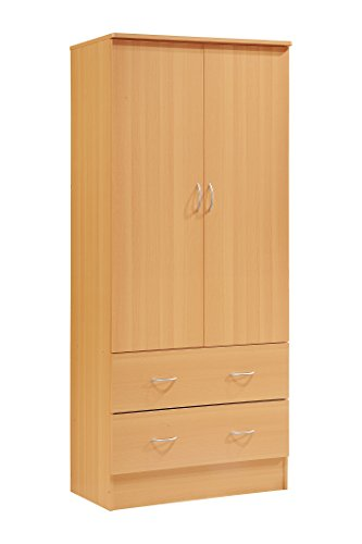 Hodedah Two Door Wardrobe, with Two Drawers, and Hanging Rod, Beech (Wooden For Doors Bedrooms)