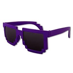 8-Bit Pixel Retro Computer Sun Glasses Nerd Sunglasses 8 Bit (Purple)