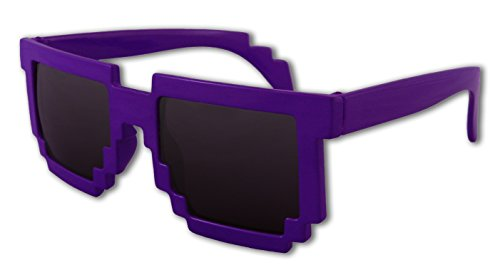 8-Bit Pixel Retro Computer Sun Glasses Nerd Sunglasses 8 Bit (Purple) (Minecraft Costumes Kids)