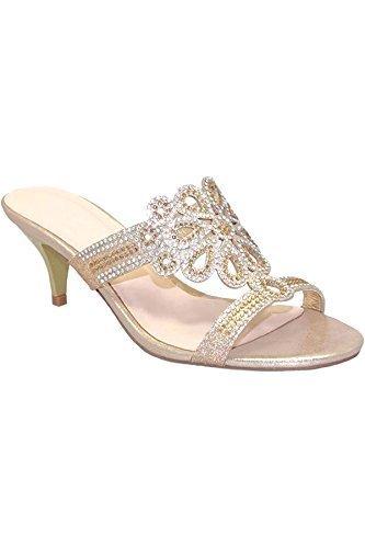 Sapphire TIENDA flr400 Brillante Deslizante Noche Diamante Gatito Tacones Mula MONEDERO BOLSO DE MANO EMBRAGUE ORO (Zapato Solo)