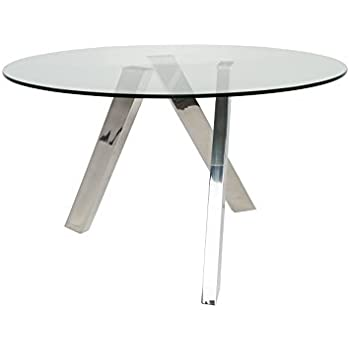 Amazoncom UrbanMod UM Ultra Modern Clara Round Glass Dining - Ultra modern glass dining table