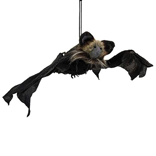 Halloween Haunters Animated Hanging Flying Black Bat Moving Head, Wings, Light-up Eyes & Sound - Prop Decoration