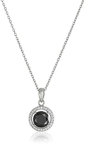 925 Sterling Silver 10mm Pave and Black AAA Cubic Zirconia Pendant Necklace, 18
