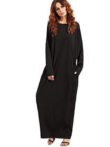 Verdusa Womens Casual Long Sleeve Oversized Loose Pocket Plus Size Maxi Dress