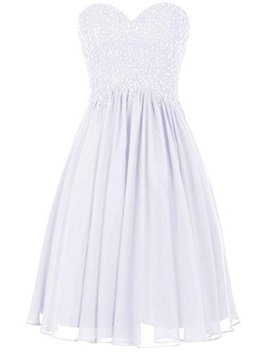 Dresstells®Vestido De Gala Corto Escote Corazón Con Aplicaciones De Gasa Blanco