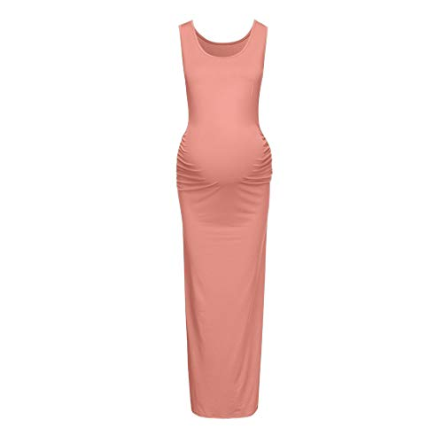 Maternity Dress Women Solid Mom Sleeveless Maternity Tank Dress Ruched Side Bodycon Pregnancy Casual Long Dresses CapsA Pink ()
