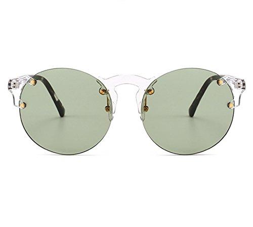 sin Steampunk UV400 del retro de sol Verde marco metálico Protector marco Gafas redondas OBXxSSw