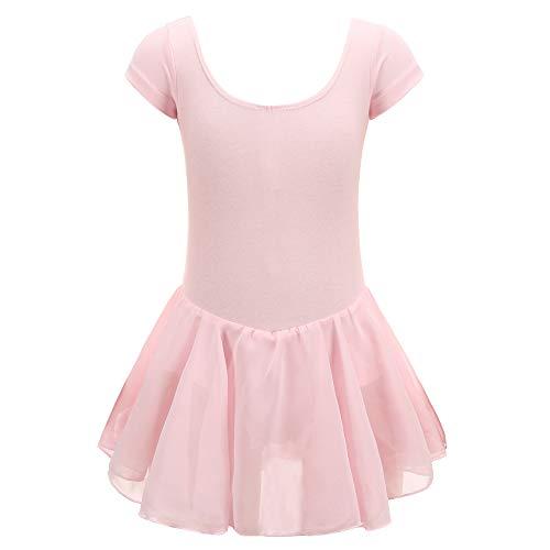 Tigerhu Girls' Skirted Short Sleeve Leotard for Ballet Dance Dress with Adjustable Crotch, Ballet Pink 140 -
