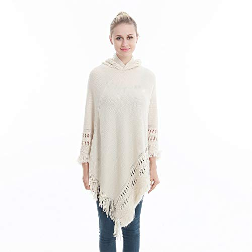 Sefilko Womens Knitted Hooded Poncho Tops Shawl Cape Batwing Blouse With Fringed Sides For Lady (Beige) by Sefilko (Image #2)