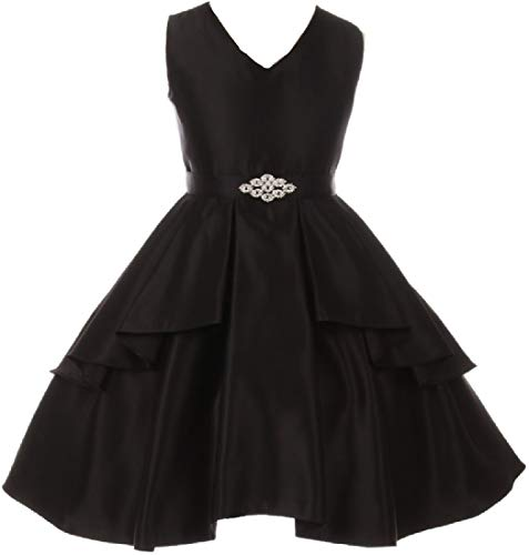 Big Girls' Solid Dull Satin Overlays Brooch Sash V Neck Flower Girl Dress Black 16 (G35G71)