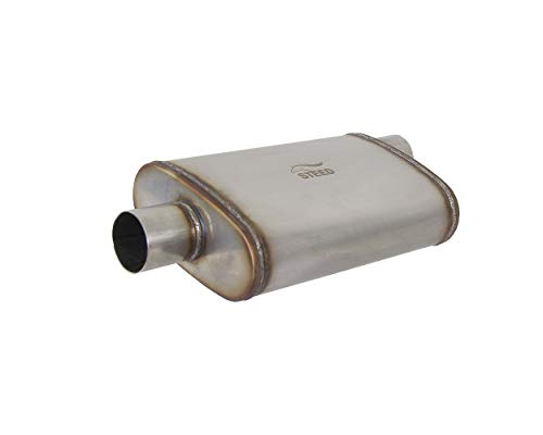Body Oval Aluminized (Audrfi 1pc Stainless Steel High Flow Oval Body Muffler Exhaust 2.5