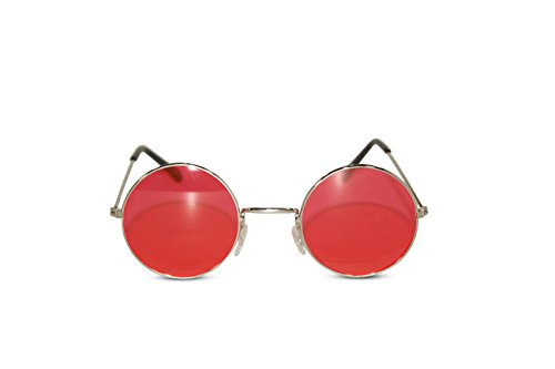 John Lennon Sunglasses Round Hippie Shades Retro Colored Lenses Retro Party (Silver frame w/ Red Lens)