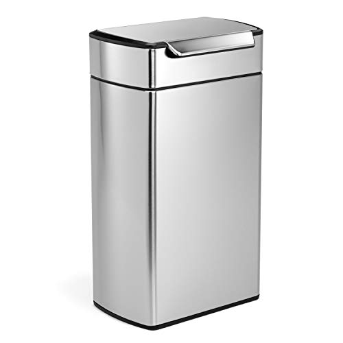 (simplehuman 40 Liter / 10.6 Gallon Stainless Steel Touch-Bar Kitchen Trash Can, Brushed Stainless Steel, ADA-Compliant)