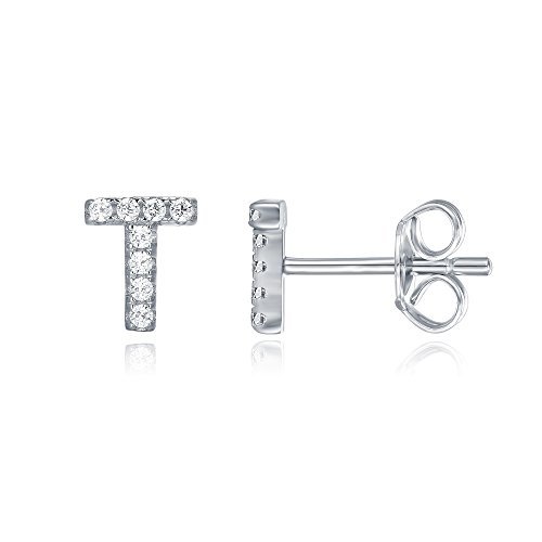 (PAVOI 925 Sterling Silver CZ Simulated Diamond Stud Earrings Fashion Alphabet Letter Initial Earrings - T)