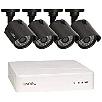 Q-See Surveillance System QTH81-4Z3-2 8-Channel HD Analog DVR with 2TB Hard Drive, 4-720p Security Cameras (Black)