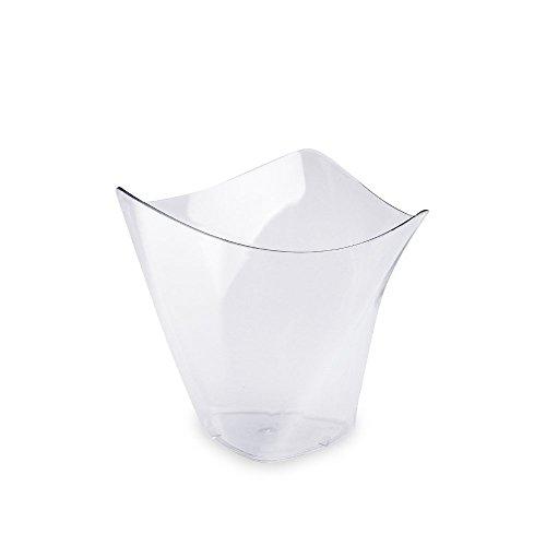 100Pcs/set Dessert Cups Mini Cubes Clear Tasting Sample Glass Containers Elegant Square Plastic Bowls Disposable