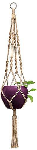- Mkono Macrame Plant Hanger Indoor Outdoor Hanging Planter Basket Jute Rope 4 Legs 34 Inch