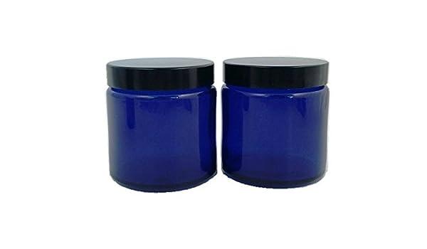 Pack 2 x 120 ml vacía Cristal Decorado Azul con Tapa Negra ...