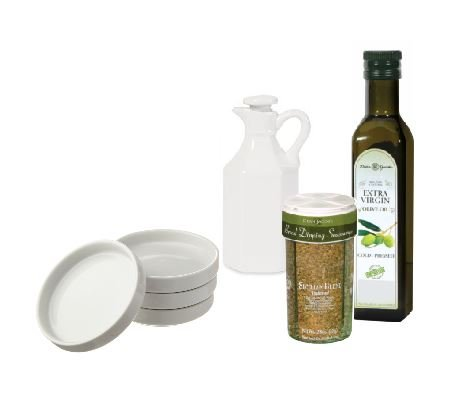 Dean Jacob's Boxed 7 Piece Bread Dipping Set. Includes 4 Ounce Bread Dipping Seasonings, Cold Pressed Extra Virgin Olive Oil, White Porcelain Dipping Saucers and a White Porcelain Olive Oil Cruet