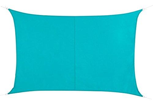 Toile solaire Voile d'ombrage rectangulaire 2 x 3 m en tissu déperlant - Coloris BLEU Lagon