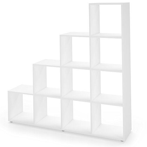 Regal Treppenregal Raumteiler Stufenregal Bücherregal Aktenregal Standregal (Weiß 10 Fächer)