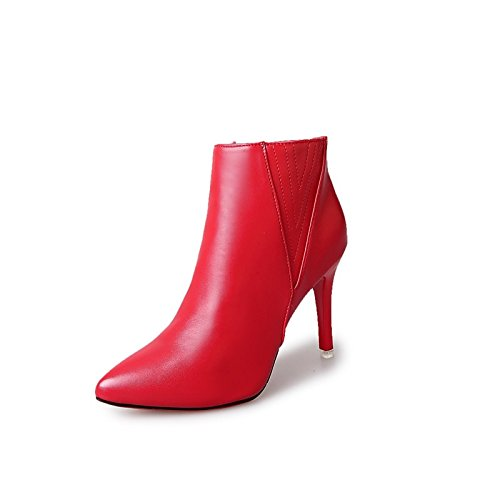 Winter Rot hsxz Stiletto für Pointed Schwarz Grau mit Stiefel Toe Damenschuhe ZHZNVX Frühjahr Stiefelette Schuhe lässige Stiefel Heel Kleid mit nIzHqzd
