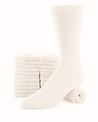 Mens 12-pack Big & Tall Cotton Cushion Athletic sports Sock Ring Spun (Crew Socks), White, SHOES SIZE 12-15 SOCK SIZE 13-15